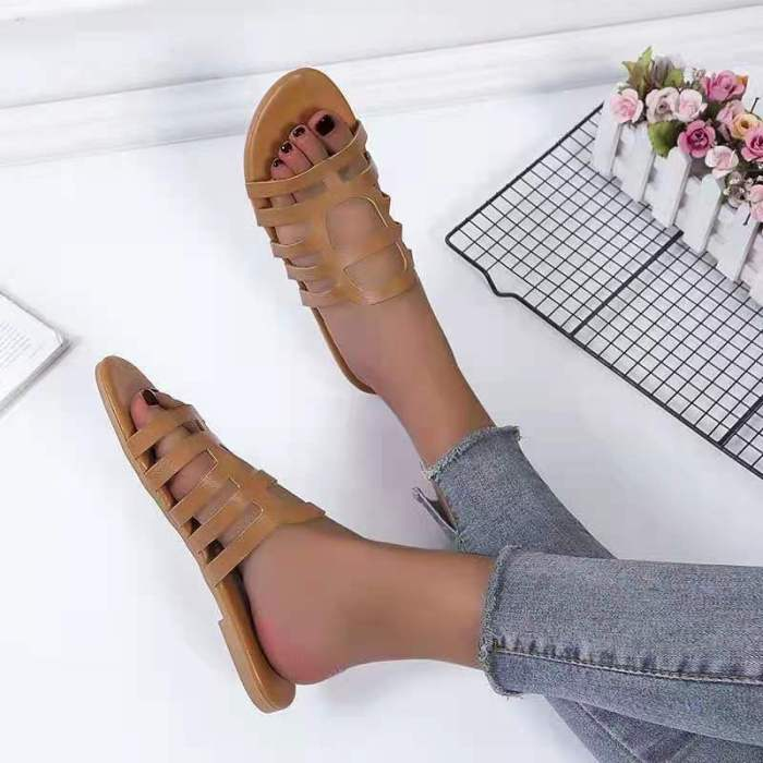 FANAN 2021 Summer New Fashion Sandals Large Size Daily Casual Hollow Square Heel Flat Women's Slippers Retro Style Trend Shoes