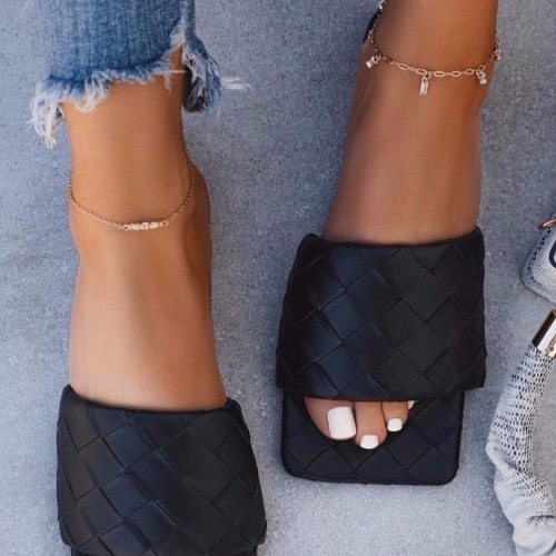 Luxury Designer Sandals Women Shoes Square Toe Womens Slippers PU Leather Ladies Summer Slides Flats Sandals Zapatos De Mujer