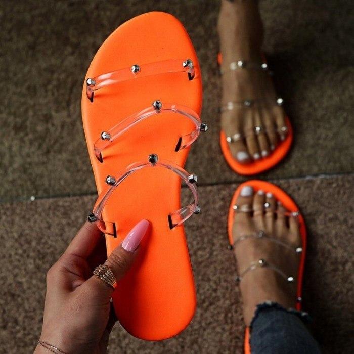 Women's Slippers Sandals Flip Flops Ladies Fashion rivet Bohemia Beach Casual Breathable Comfort Slippers Shoes Plus Size