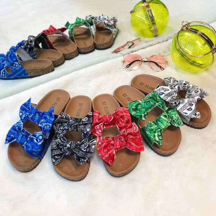 2021 European and American Summer Fashion Bow Knot Casual Sandals the New Hot Seller Cashew Flower Lady Slippers
