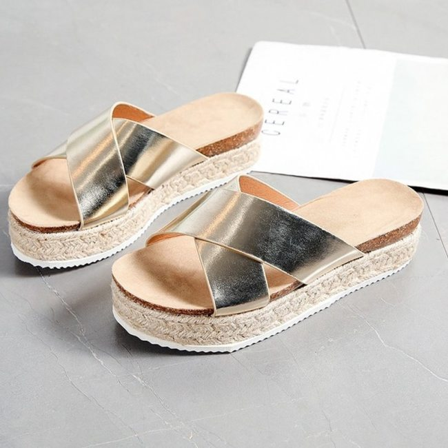 New Women Slippers Summer Woman Platform Leopards Slides Ladies Cross Band Wedges Women's High Increase Open Toe Shoes