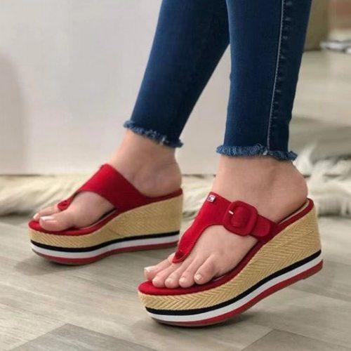 Women Sandals 2021 New Heels Woman Slippers Platform Wedges Shoes Ladies Summer Slides Mujer Buckle Flip Flops Plus Size 43