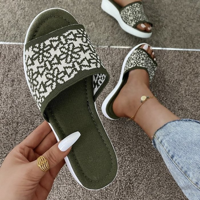 Slippers Women 2021 Summer New Women's Plus Size One-line Slippers European and American Fashion Sandals and Slippers Women