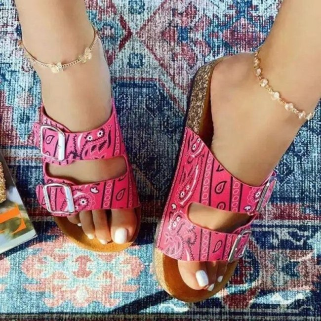 2021 Summer Women Shoes Platform Sandals Fashion Retro Buckle Casual Printing Sandals Beach Open Toe Flat Slipper for Woman
