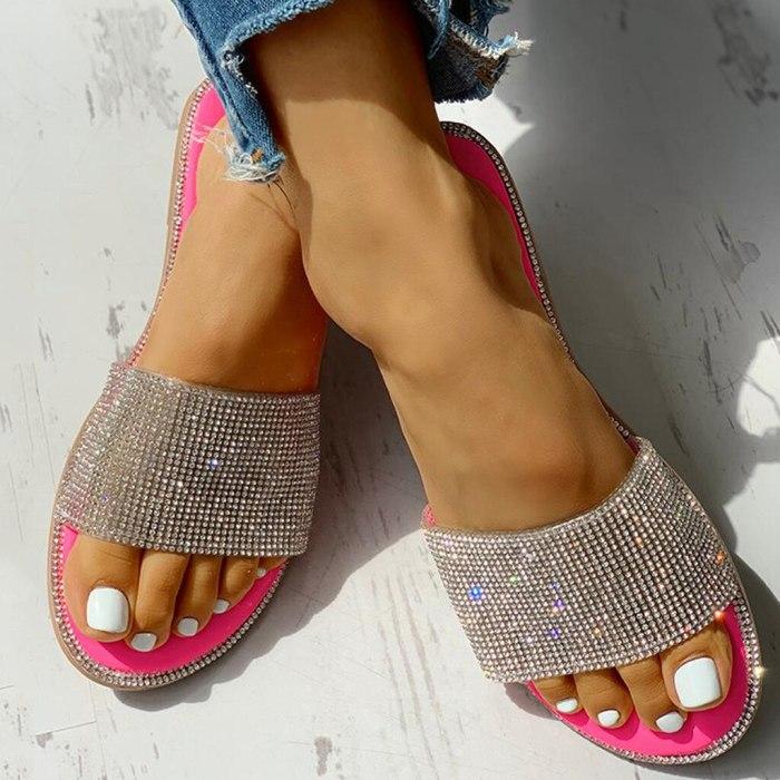 Silver Glitter Bling Slippers For Girls Summer Non-slip Soft Beach Ladies Slides Flats Home Women Sandals Outdoor Footwear