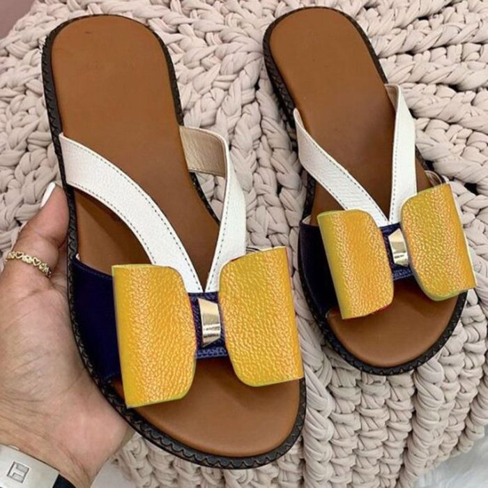 Women Shoes 2021 Summer Women Fashion Flat Color Blocking Bowknot Large Size Sandals Slippers PU Beach Outdoor Slides