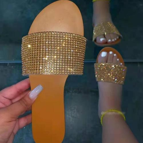 2021 spring /summer new all-match casual and durable ms slippers metal rhinestone single layer outdoor non-slip ladies sandals