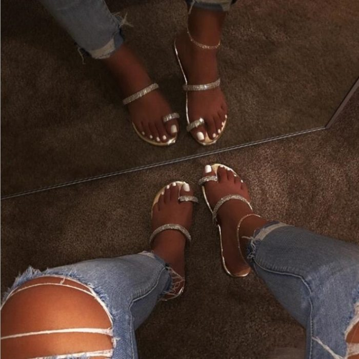 2021 Women Plus Size Sandals Bling Crystal Summer Woman Beach Flat Shoes Women's Outdoor Flip Flop Ladies Soft Bottom Slippers