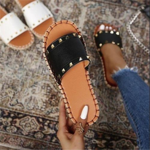 Rivet Women's Slippers 2021 Trend Hemp Fashion Ladies Shoes For Women Summer Female Shoes Punk Sewing Beach Outdoor Slides