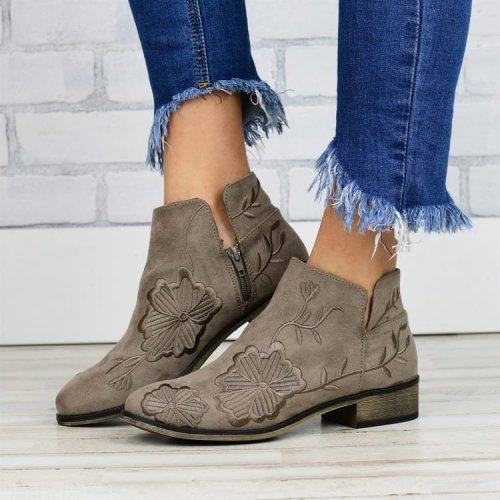 Retro Chinese style boots women ethnic embroidery women's short boots western cowboy boots short tube plus size knight boots