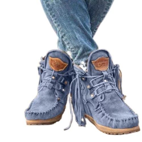 2021 New Retro Autumn Flat Platform Western Boots Comfy Flat Low Heel Boots Women Elegant Fringe Ankle Shoes Woman Botas Mujer