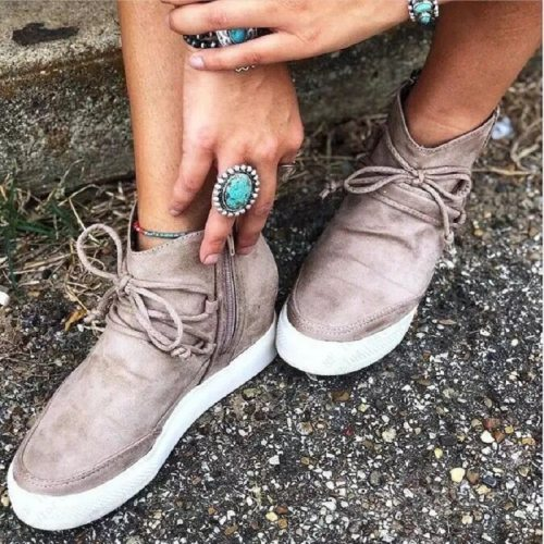 New Women Ankle Boots Autumn Winter Lace Up Zipper Casual Ladies Shoes Height Increasing Platform Female Short Boots