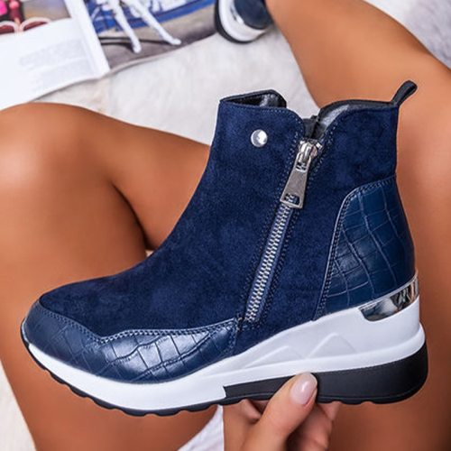 Women Sneakers Fashion Wedges Ladies Ankle Boots Women's Casual Vulcanized Shoes Non-slip Zipper Female Footwear New