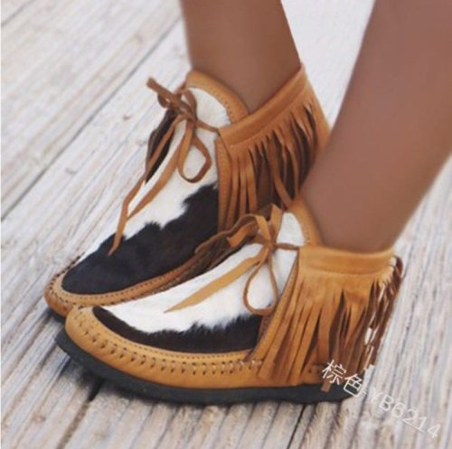 Martin boots round toe hand-stitched bag shoes women's fringed edamame and bean shoes wild warm short boots personality hot sale