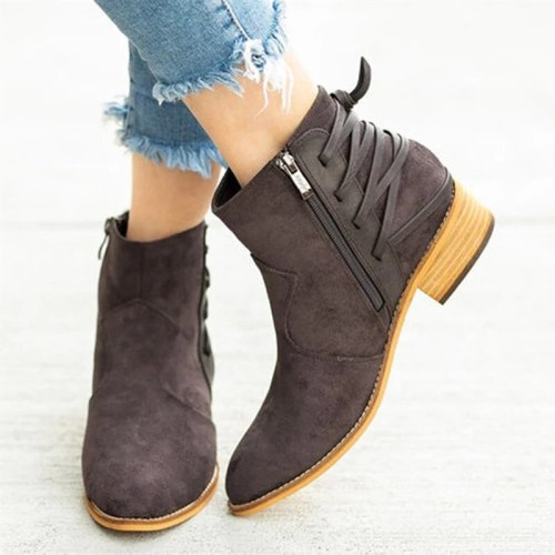 2021  Women Ankle Boots Pointed Toe Leopard Boots for Woman Zip Shoes Autumn Female Sewing Suede Women's Low Heels Lady Big Size