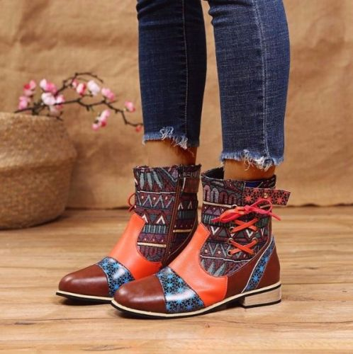 2021 New WomenFashion Square Heel Round Head Short  Fashion Boots Pu Flat Heel Soft Bottom Comfortable Anti Slip Hot Sale KM125