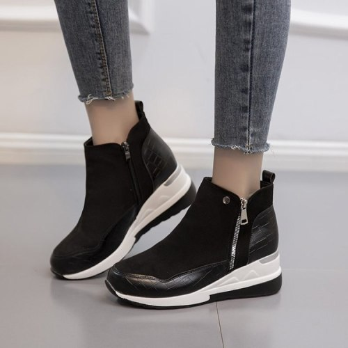 Fashion ankle boots ladies cowhide side zipper platform shoes chunky high heels ladies winter boots wild personality trend