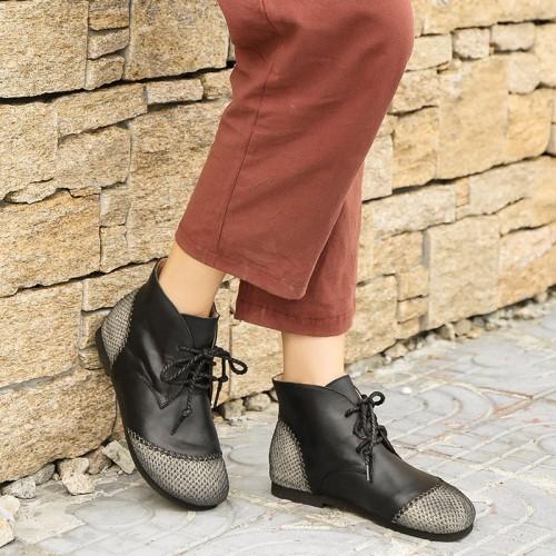 Roman Moccasin Boots Women Shoes Autumn Round Toe PU Flat Boots for Women Botas Rubber Lace-up Short Boots Women Basic Fashion