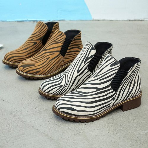 New Zebra Pattern Women's Ankle Boots For Ladies Casual Walking Shoes Female Short Boots Outdoor Footwear Women Boots Size 35-43
