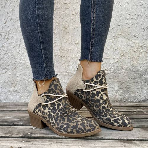 Women Footwear Autumn Leopard Canvas Shallow Ankle Boots 2020 Casual Ladies Zip Mid Heels Pointed Toe Female Woman Flats Shoes