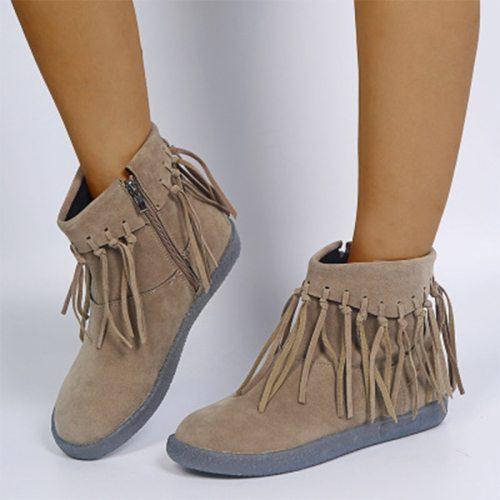 2021 Women Ankle Boots Tassel Big Size Fashion Women's Zip Fringe Boots Female Vintage Round Toe Shoes Ladies Casual Flat