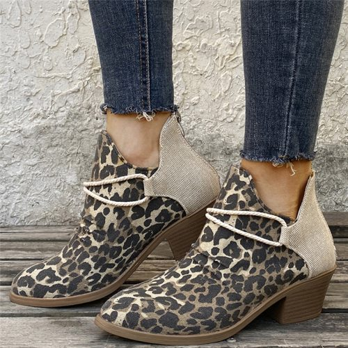 New Fashion 2021 Women's Ankle Boots Leopard Ladies Chunky  Female Shoes Woman Footwear Plus Size 35-43