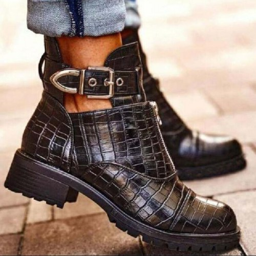 New Woman Platform Boots Ladies Motorcycle Cowboy Boots Women PU Leather High Heels Short Booties Ankle Botas Zipper Shoes