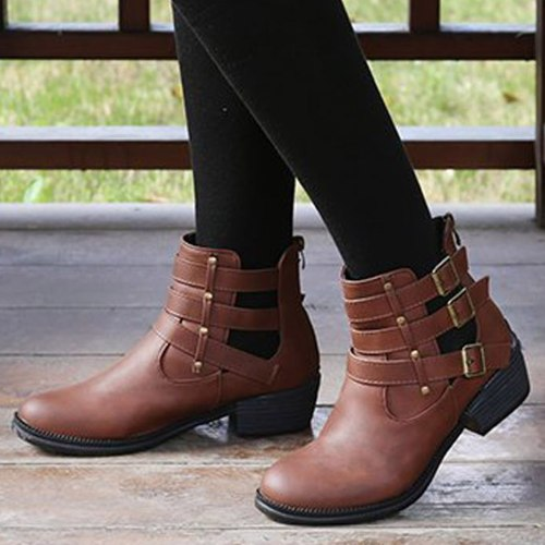 Winter Metal Buckle Ankel Boots Women Punk Female Mid-Heel Boot Thick Heels PU Women Round Head Boots Botas Mujer Plus Size#1125