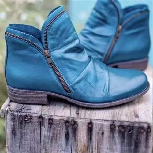 Women Boots New Leather Ankle Boots Flat Shoes Autumn Winter Snow Boots Platform Zipper Punk Boots Square heel Ladies Shoes