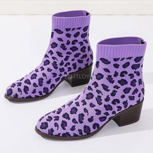 Women's Leopard Print Knit Stretch Woman Sock Boots Fashion Autumn Winter Female Block High Heels Ladies Short Botas Mujer 2020