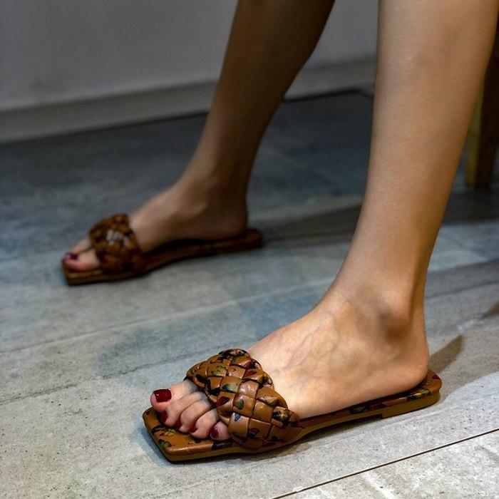 Flat Designer Shoes Summer Sandals Women Flip-flops 2021 Flat Bottom Fashion Women Slides Slip on Slippers Woman Outside Beach