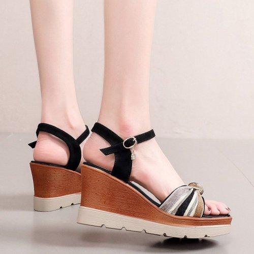 Plus Size 35-40 Platform Wedges Sandals Women Shoes Summer 2021 HIgh Heels Sandals Ladies Elegant Office Sandals Beach Shoes