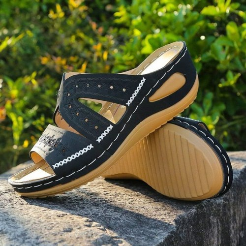 Sandals Women Slope with Thick Bottom Summer Sandals Casual PU Shoes European and American Large Size Open Toe Women's Slippers