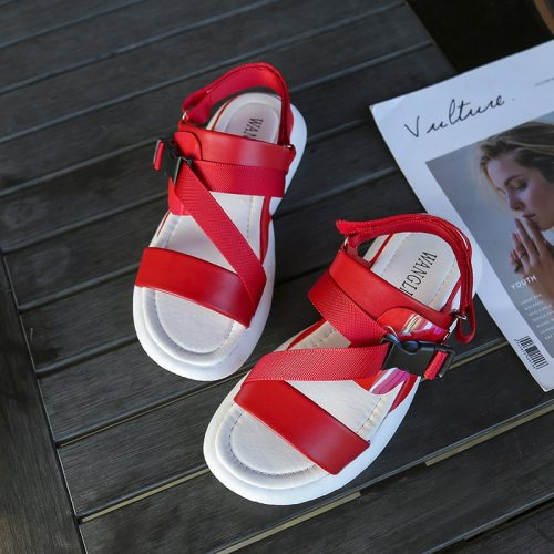 2021 new summer female soft bottom flat leather student casual shoes Velcro fish mouth beach casual fashion Z469