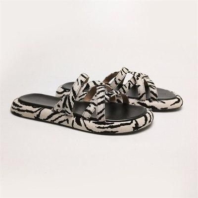 2021 New Fashion Zebra Pattern Shoes Woman Slippers Summer Shoes Platform Shoes For Women Black Beige Basic 35-40 Slipper