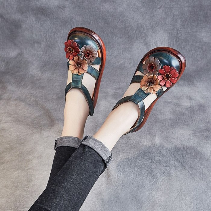 Female Sandal Velvet Shoes Clogs Wedge 2021 Women's Med Girls Suede Platform Comfort Retro New Medium Thick Buckle Strap Floral