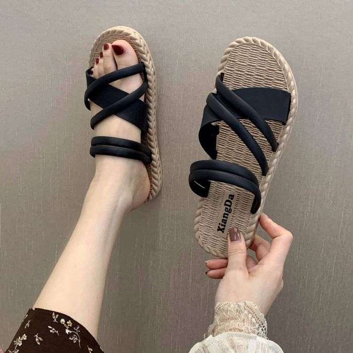 Women's Summer Outdoor Wear Slippers All-match Female One-line Flat Slippers Woman Plus Size Summer Beach Shoes