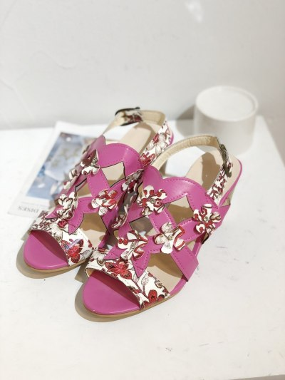 2021 new national style high heel flower women's shoes