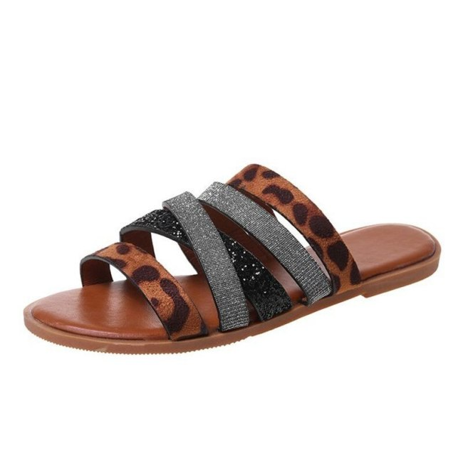 Summer Women's Sequins Leopard Print Narrow Band Slippers Plus Size Beach Open Toe Sandals Outdoor Indoor Lightweight Trend Flat