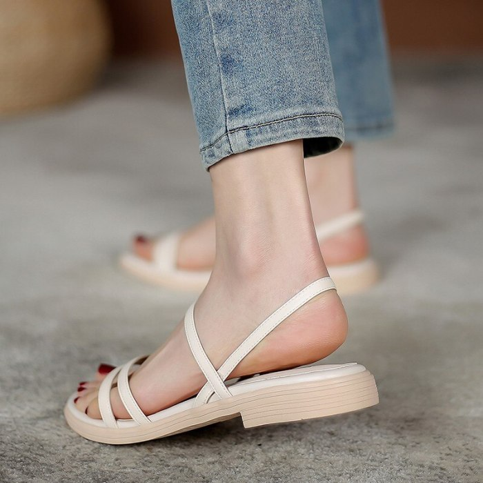Comfort Shoes for Women 2021 Summer Sandals Straps Soft Suit Female Beige All-Match Clear Heels  Flat Outside Elastic Band Low B