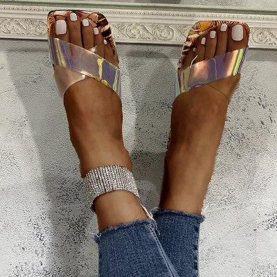 Slippers Women Summer Sandals Flat Shoes Cross Transparent Straps Butterfly Print Slippers 2021 New Beach Open Toe Flip Flops