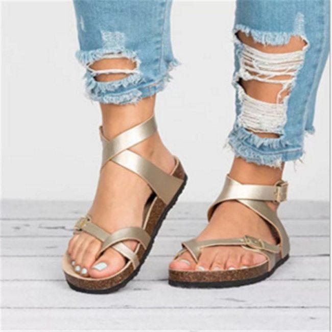 Women Roman Flat Gladiator Sandals Summer Lovers Strap Ankle Buckle Leather Cork Beach Sandals Black Gold Brown Plus Size43 2021
