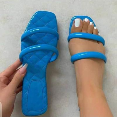 summer 2021 women new solid color double ring home flat heel set foot leisure all-match fashion outdoor beach sandals/slippers