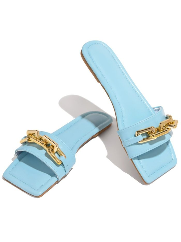 Women's Slippers 2021 Summer Transparent Chain Luxury Square Head Flat Heel Female plus size outdoor beach comfortable Sandals