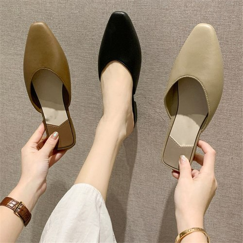 Summer Mules Women 2021 Fashion Elegant Soft Leather Ladies Closed Toe Non-Slip Comfortable Sandals Dress Party Female Slippers