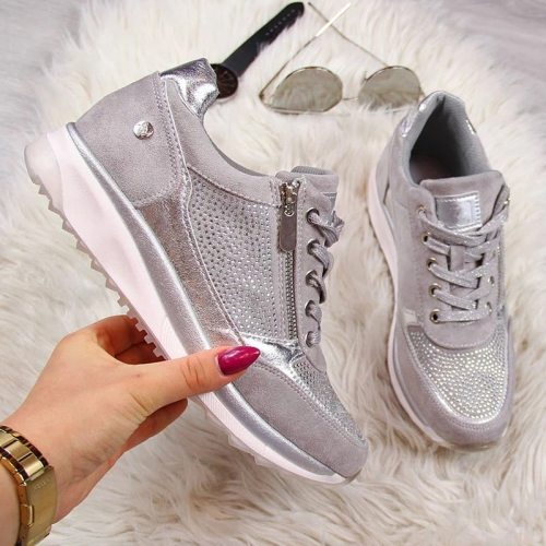 2021 Women's Wedges Sneakers Vulcanize Shoes Sequins Shake Shoes Fashion Girls Sport Shoes Woman Sneakers Shoes Woman Footwear