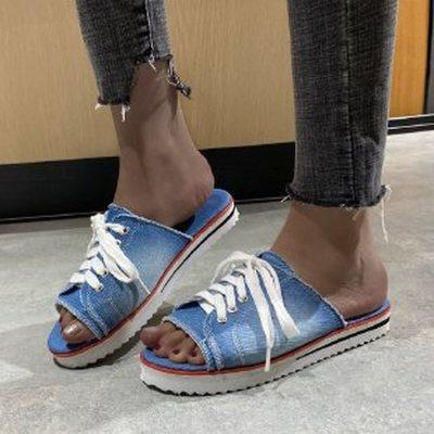 2021Women's Flip Flops Women Flat Slipper Woman Lace Up Ladies Open Toe Sandals New Women's Casual Beach Shoes