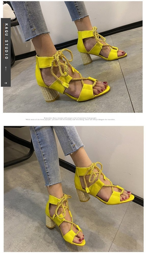 2021 new style color ankle cross strap high heel thick heel ladies large size fashion sandals slippers