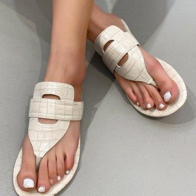 2021 Summer New Fashion Leather Women's Slipper Solid Color Casual Flip Flops Roman Beach Shoes Ladies Sandalias Female Footwear