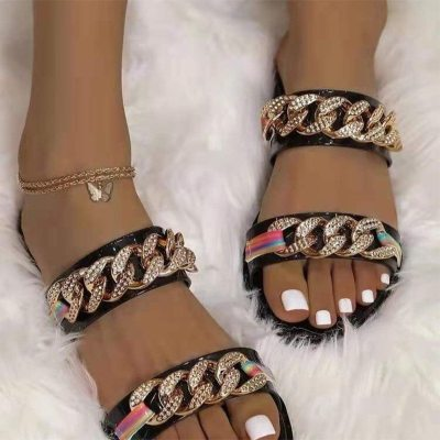 2021 Women's  Chain Slippers  Ladies Fashion PU Leather Female Flats Slides  New Casual Outdoor Plus Size sandals Women Shoes